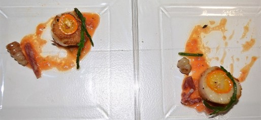 Chef James Boyce prepared seared scallop with kumquat, shishito pepper and crosnes. (Michael Tomberlin / Alabama newsCenter)