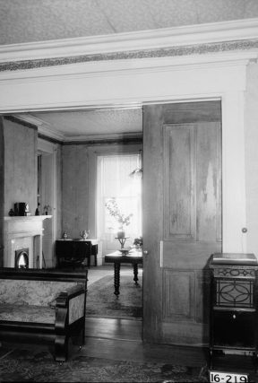 Magnolia Grove, view from the living room into the dining room, 1934. (Photograph by Alex Bush, HABS, Library of Congress Prints and Photographs Division)
