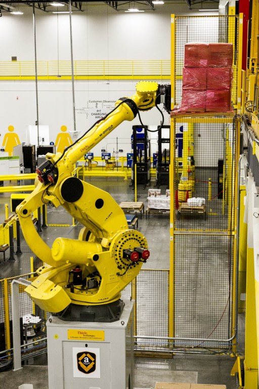 The 1,500 employees in the new Amazon fulfillment center in Bessemer will work alongside robotics technology developed by the company. (Amazon)