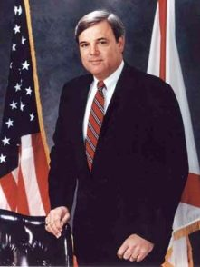 """James E. Folsom Jr. became governor of Alabama in 1993 after Gov. Guy Hunt was convicted on a felony ethics charge. Folsom was elected to three terms as lieutenant governor, in 1987, 1990 and 2007. Folsom is known for bringing a Mercedes-Benz plant to Alabama and for removing the Confederate flag from the state Capitol building. His father, James """"Big Jim"""" Folsom Sr., was governor of Alabama from 1947-51 and 1955-59. (From Encyclopedia of Alabama, courtesy of Alabama Department of Archives and History)"""