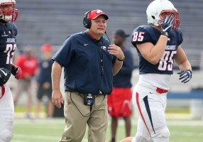 Steve Campbell coaches during the South Alabama Jaguars' Red & Blue spring game at Ladd-Peebles Stadium in Mobile. (Scott Donaldson)