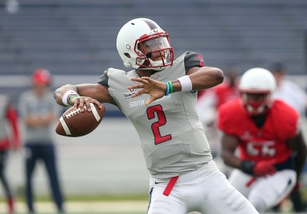 Cephus Johnson is one of two outstanding quarterbacks in this year's South Alabama Jaguars lineup. (Scott Donaldson)