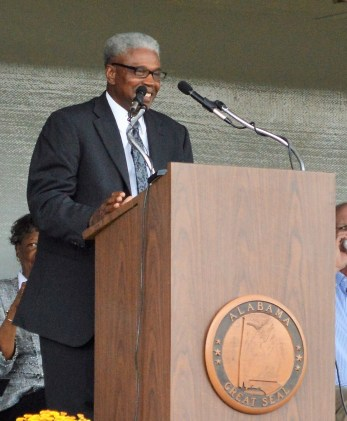 Eutaw Mayor Raymond Steele speaks at the groundbreaking of the Love's Travel Stop and Country Store in Eutaw. (Anna Catherine Roberson / Alabama NewsCenter)