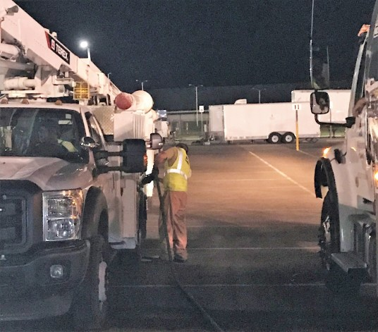 Power trucks need fuel to continue pushing with assistance in parts of Florida damaged by Hurricane Michael. (Alabama NewsCenter)