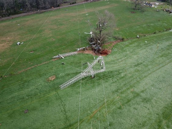A drone photograph shows power line damage following an EF-3 tornado that swept through east Alabama in March 2018. (file)