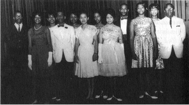 Students who fought segregation in Alabama's educational system in the 1963 lawsuit Lee v. Macon County Board of Education, filed by civil rights attorney Fred Gray. From left, Robert Judkins, Shirley Chambliss, Wilma Jones, Wille B. Wyatt Jr., Janis Carter, Helois Billes, Carmen Judkins, Ellen Henderson, Anthony T. Lee, Marsha Sullins, Patricia Jones and Harvey Jackson. (From Encyclopedia of Alabama, courtesy of Fred Gray)