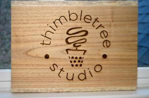 Thimbletreestudio worked with a UAB art student to design its logo. (Michael Tomberlin / Alabama NewsCenter)