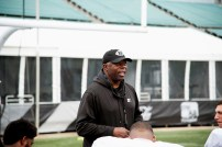 Coach Tim Lewis talks to his players as the Birmingham Iron's season opener against the Memphis Express draws near. (Brittany Faush/Alabama NewsCenter)