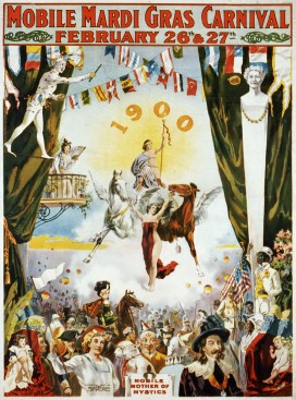 Promotional poster for the Mobile Mardi Gras Carnival, 1900. (Library of Congress, Wikipedia)