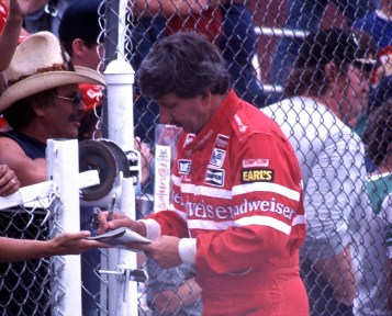 NASCAR driver Neil Bonnett, 1985. (Photograph by Ted Van Pelt, Wikipedia)