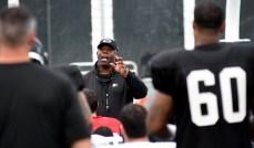 Coach Tim Lewis talks to his players as the Birmingham Iron's season opener against the Memphis Express draws near. (Solomon Crenshaw Jr./Alabama NewsCenter)