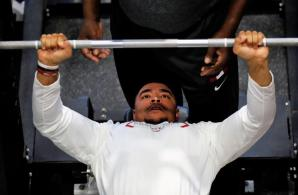 Christian Miller participates in the Bench Press at Alabama Pro Day. (Kent Gidley/UA Athletics)