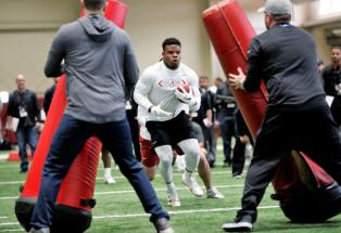 Damien Harris participates in Alabama Crimson Tide Pro Day (Kent Gidley/UA Athletics)