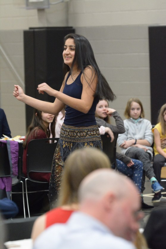 Amrita Lakhanpal does a Bollywood-style dance for students at The Altamont School. (Karim Shamsi-Basha/Alabama NewsCenter)
