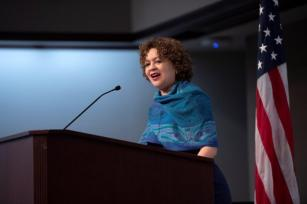 Myla Calhoun, vice president of Charitable Giving at Alabama Power, speaks at the Women's History Month breakfast at Alabama Power. (Wynter Byrd / Alabama NewsCenter)