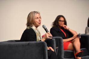 Cathy Sloss Jones moderated the panel discussion at the Women's History Month breakfast. (Wynter Byrd / Alabama NewsCenter)