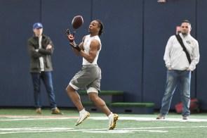 Wide receiver Ryan Davis participates in pro day at Auburn on Friday. (Wade Rackley /Auburn Athletics)