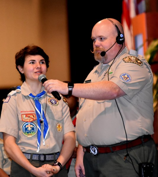 Eagle Scout Tyler Wright of Oneonta and Troop 4160 asks a question to Nick Saban. Flat Rock's David Murphree holds the mic. (Solomon Crenshaw Jr./Alabama NewsCenter)