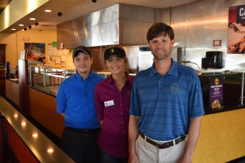 Jeff LaCour, right, in one of the five Moe's Southwest Grill restaurants he owns. (Melissa Johnson Warnke/Alabama Retail Association)