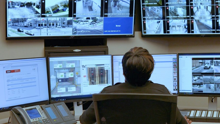 Kista Smith keeps an eye on Alabama Power's Corporate Headquarters as part of the company's security team. (Joe Allen/Alabama NewsCenter)
