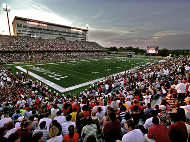 The University of Troy Trojans football team plays at Movie Gallery Veterans Stadium, founded in 1950 as Veterans Memorial Stadium and dedicated to Troy University students and residents of Pike County who fell in World War II. (From Encyclopedia of Alabama, courtesy of Troy University)