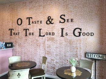 The cozy interior of JaWanda's Sweet Potato Pies welcomes customers. (Keisa Sharpe
