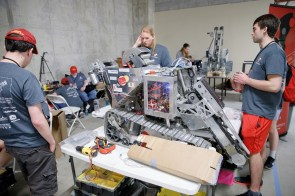 University of Alabama students prepare for a NASA robotics competition, which teams from UA have won several times. Cutting-edge technology is a key part of UA's approach to strengthening Alabama business and entrepreneurship. (contributed)