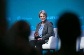 Vicki Hollub, president and chief executive officer of Occidental Petroleum Corp., speaks during the 2019 CERAWeek by IHS Markit conference in Houston, Texas, in March. (F. Carter Smith/Bloomberg)