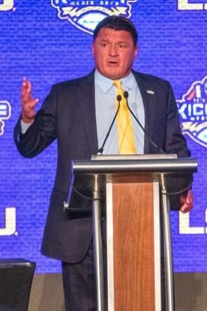 LSU coach Ed Orgeron speaks at SEC Media Days. (Dennis Washington / Alabama NewsCenter)