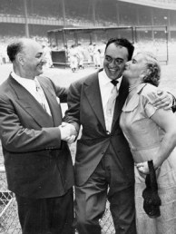 """On Aug. 27, 1950, the New York Yankees honored sportscaster Mel Allen, center, with """"Mel Allen Day"""" and other awards, including a $10,000 cash prize. (From Encyclopedia of Alabama, courtesy of W.S. Hoole Special Collections Library, The University of Alabama Libraries)"""
