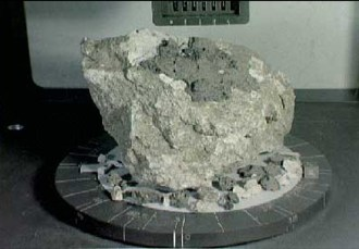 A 4.4-billion-year-old anorthosite rock sample collected from the lunar highlands of the moon by Apollo 16 astronauts. (NASA)