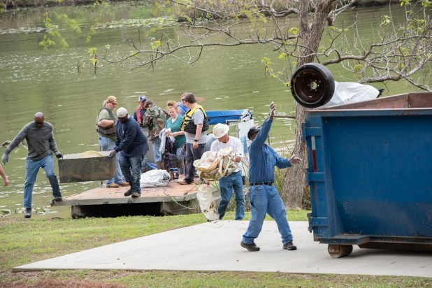 Tires are a common item removed from the waterways during Renew Our Rivers cleanups. (Wynter Byrd/Renew Our Rivers)