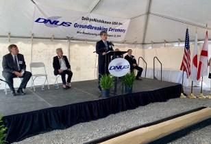 Nariaki Uchida, president of DaikyoNishikawa Corp., speaks at the groundbreaking ceremony for DNUS's first U.S. plant. (contributed)