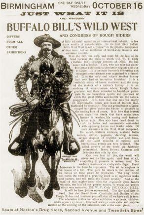 Oct. 15, 1901 Birmingham News advertisement for Buffalo Bill's Wild West Show, 1901. (Dystopos, Bhamwiki)