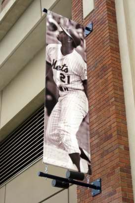 A banner at Citi Field, home of the New York Mets, shows Cleon Jones in his playing days. (Wally Gobetz/Flickr)