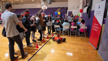 Students learn how robots are used in energy careers. (Dennis Washington / Alabama NewsCenter)