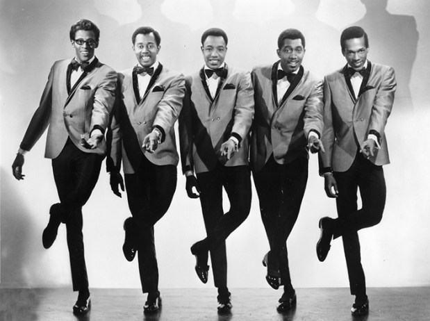 The classic line-up of The Temptations in the 1960s consisted of (l-r) David Ruffin, Otis Williams, Paul Williams, Melvin Franklin, and Alabamian Eddie Kendricks. (From Encyclopedia of Alabama, photo courtesy of the Alabama Music Hall of Fame)