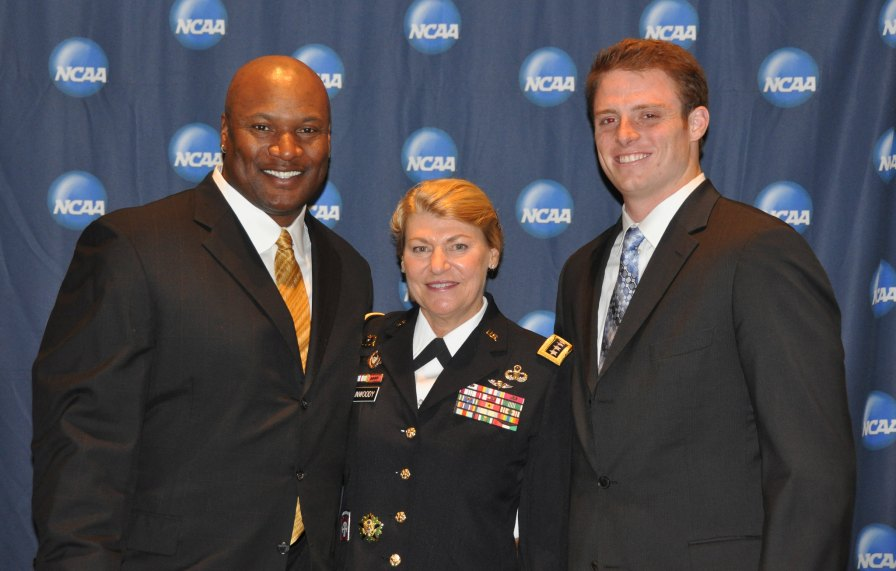 Bo Jackson, 1985 Heisman trophy winner (left), Gen. Ann E Dunwoody (center), and Greg McElroy (right), quarterback of University of Alabama, at the NCAA Honors Celebration in San Antonio, Texas. (U.S. Army Material Command, photo by Chris Putman)