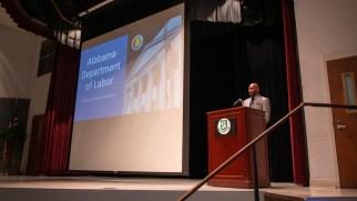 Alabama Labor Secretary Fitzgerald Washington speaks during the opening night of Worlds of Work at Bevill State Community College in Hamilton. (Dennis Washington / Alabama NewsCenter)