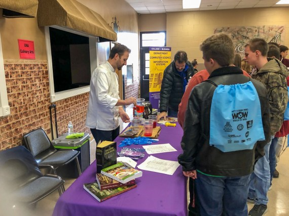 Students learn about culinary career options during Worlds of Work at Bevill State Community College in Hamilton. (Melinda Weaver / Alabama Power)