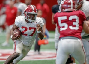 Alabama running back Jerome Ford (27) practices in preparation for the Vrbo Citrus Bowl. (Kent Gidley/University of Alabama Athletics)