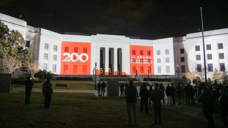 Alabama celebrates its 200th birthday on Saturday, Dec. 14, 2019, in Montgomery with a parade, festival and concert. The state also dedicated a new Bicentennial Park. (Dennis Washington / Alabama NewsCenter)