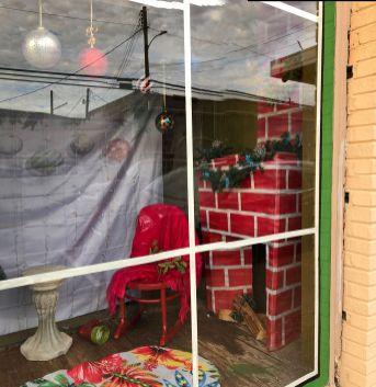 Volunteers created a cheery fireplace. (Karen White / Alabama NewsCenter)