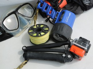 Divers' gear as they prepare for a dive south of Dauphin Island. (Mike Kittrell)
