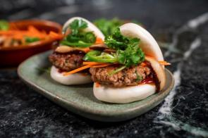 Impossible Foods is showing off the versatility and flavor of its Impossible Pork and Impossible Sausage at CES 2020. (Impossible Foods)