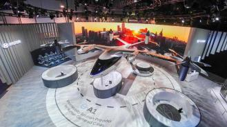 """Hyundai joined with Uber to offer a concept of a future """"flying car"""" at CES 2020. (Hyundai)"""