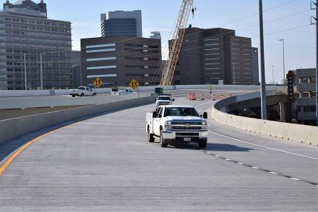 Crews are completing final tasks, such as striping, before the roadways open. (Donna Cope/Alabama NewsCenter)