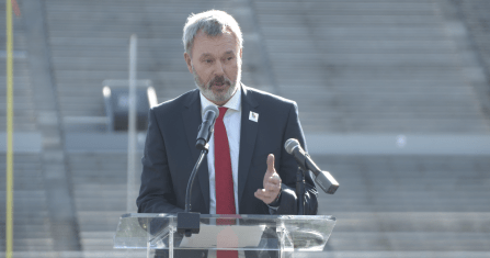 International World Games Association CEO Joachim Gossow speaks during a ceremony at Legion Field, where the opening ceremonies of the 2021 World Games in Birmingham will take place. (Bruce Nix/Alabama NewsCenter)