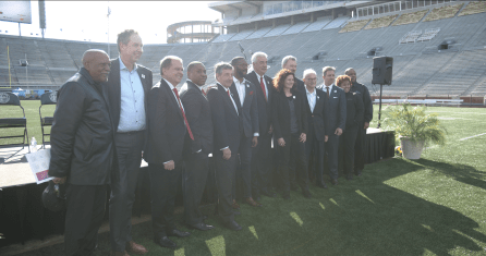 Local leaders and World Games 2021 officials gather to announce Legion Field as the site of the games' opening ceremonies. (Bruce Nix/Alabama NewsCenter)