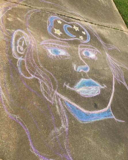 Maya Jeffcoat used chalk to express her creativity outdoors, without damaging indoor surfaces. (Heather Jeffcoat)
